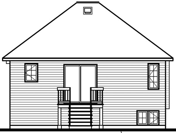 House Plan 64924 with 2 Beds, 1 Baths Rear Elevation