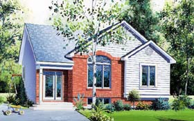 House Plan 64926 | Style House Plan with 947 Sq Ft, 2 Bed, 1 Bath Elevation