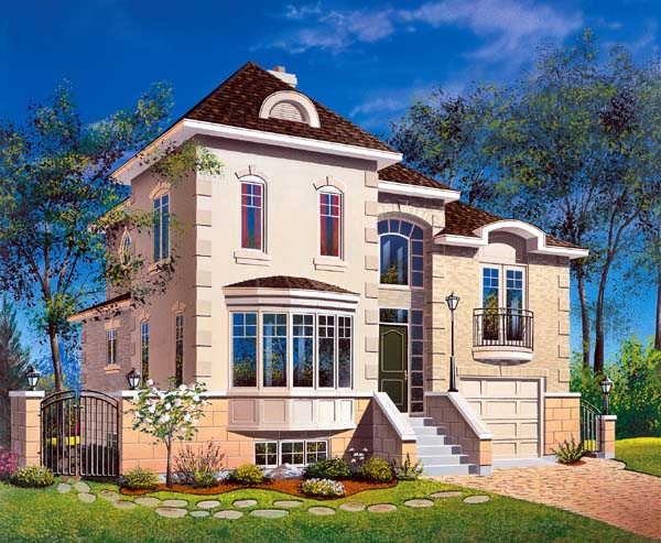 House Plan 64929 with 3 Beds, 3 Baths, 1 Car Garage Front Elevation