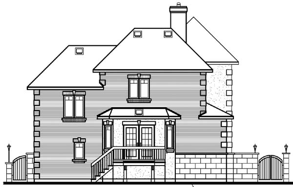 House Plan 64929 with 3 Beds, 3 Baths, 1 Car Garage Rear Elevation