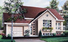 House Plan 64931 with 2 Beds, 1 Baths, 1 Car Garage Elevation
