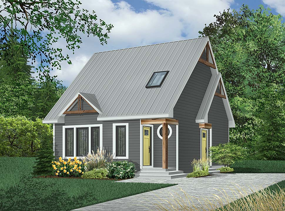 House Plan 64935 | Style Plan with 1236 Sq Ft, 2 Bedrooms, 2 Bathrooms, 1 Car Garage Elevation