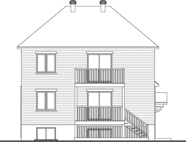 Rear Elevation of Plan 64936