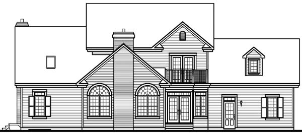 House Plan 64939 with 5 Beds, 4 Baths, 2 Car Garage Rear Elevation