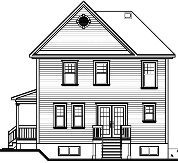 House Plan 64942 Rear Elevation