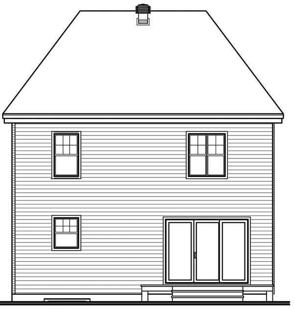 House Plan 64943 Rear Elevation