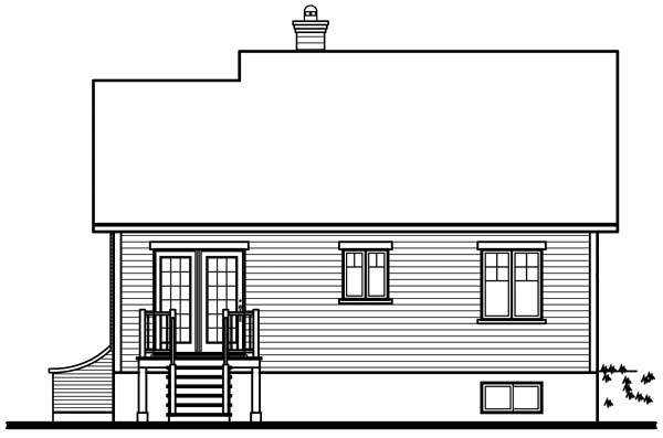 European Rear Elevation of Plan 64946