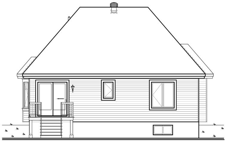 Country House Plan 64949 with 2 Beds, 1 Baths Rear Elevation