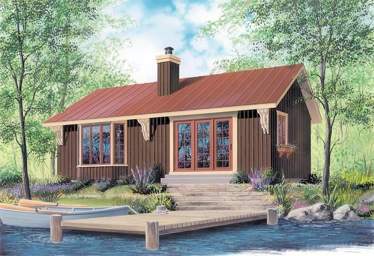 Cabin House Plan 64950 with 2 Beds, 1 Baths Front Elevation