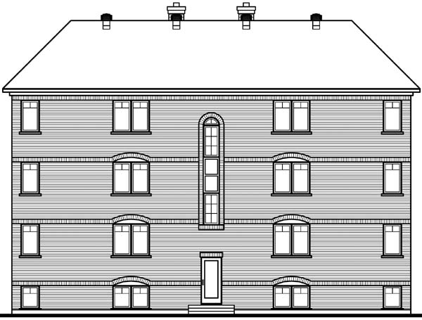 Victorian Multi-Family Plan 64952 Rear Elevation
