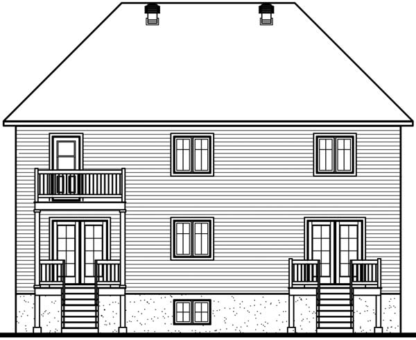 Multi-Family Plan 64954 with 8 Beds, 6 Baths Rear Elevation