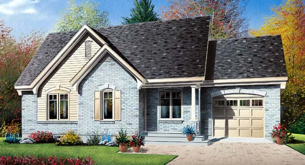 House Plan 64955 with 2 Beds, 1 Baths, 1 Car Garage Elevation