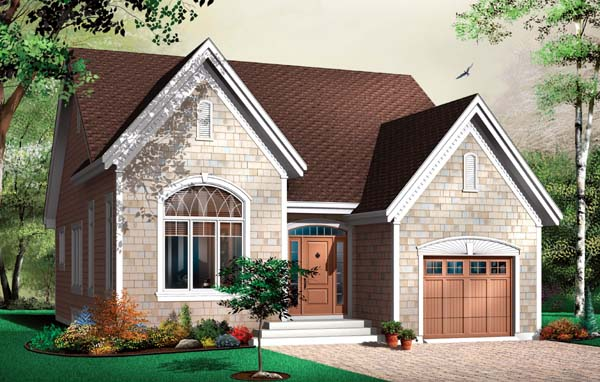 House Plan 64956 | European Style House Plan with 1299 Sq Ft, 2 Bed, 1 Bath, 1 Car Garage Elevation