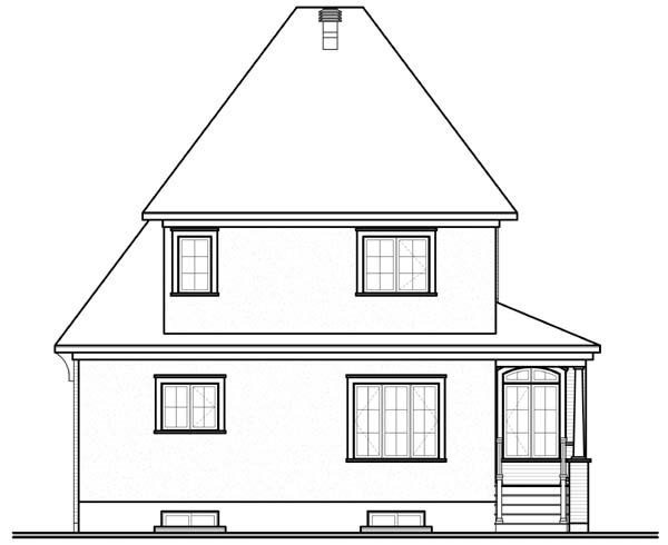 Traditional House Plan 64957 Rear Elevation