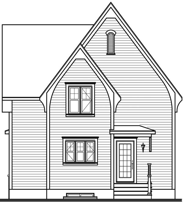 House Plan 64958 | Style Plan with 1322 Sq Ft, 2 Bed, 2 Bath Rear Elevation