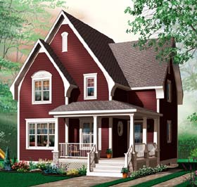 House Plan 64959 with 3 Beds, 2 Baths Elevation