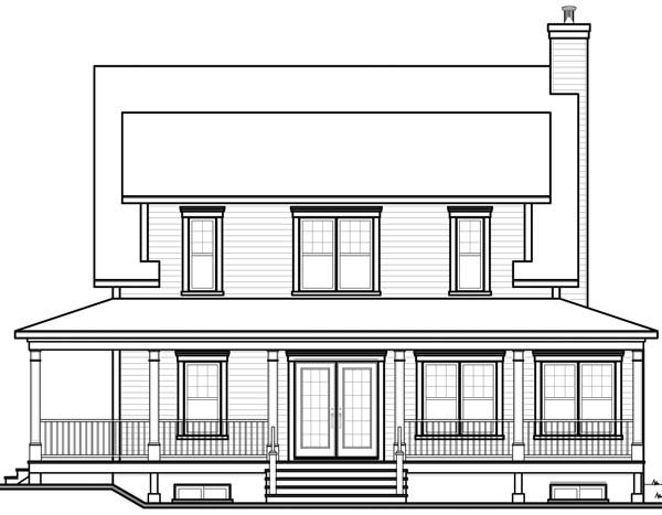 Country Southern House Plan 64960 Rear Elevation