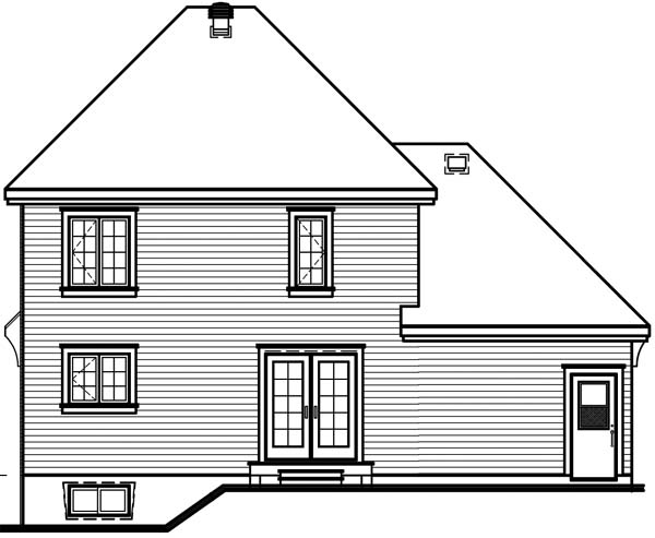 House Plan 64961 | Style Plan with 1442 Sq Ft, 3 Bedrooms, 2 Bathrooms, 1 Car Garage Rear Elevation