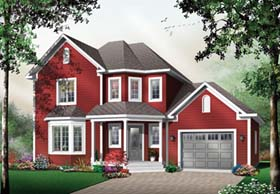 Country House Plan 64963 with 3 Beds, 2 Baths, 1 Car Garage Elevation
