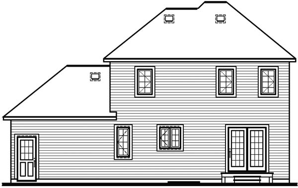 Country Rear Elevation of Plan 64963