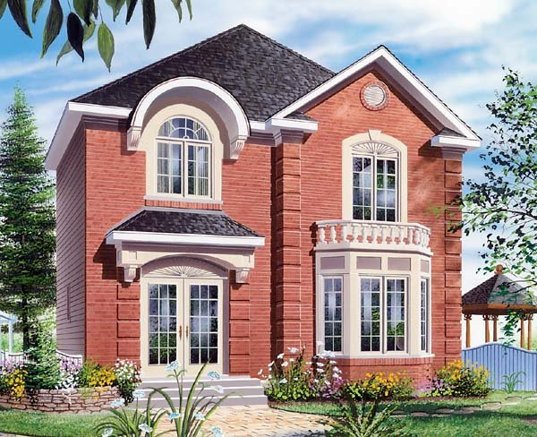 Colonial House Plan 64967 with 3 Beds, 2 Baths Elevation