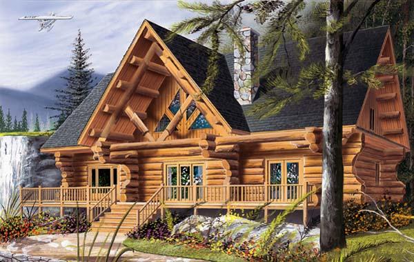 Cabin Craftsman Log House Plan 64969 Elevation