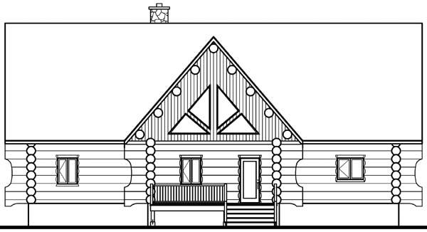 Cabin , Craftsman , Log House Plan 64969 with 4 Beds, 3 Baths Rear Elevation