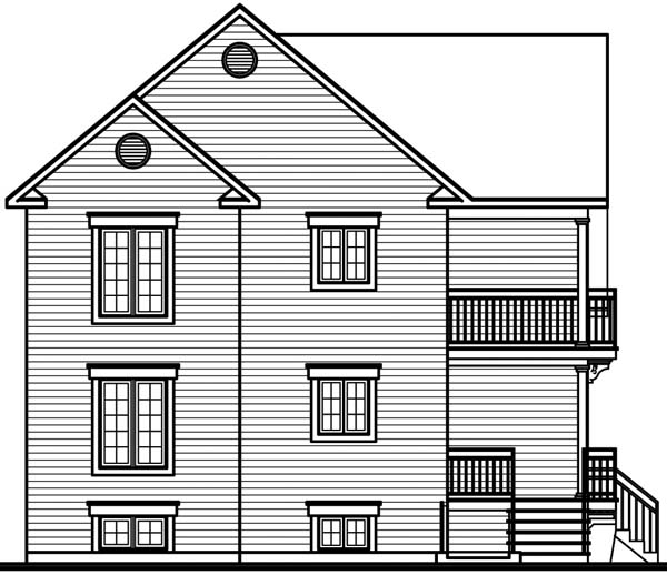 Traditional Rear Elevation of Plan 64970