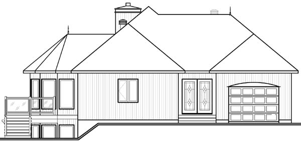 Contemporary Craftsman House Plan 64972 Rear Elevation