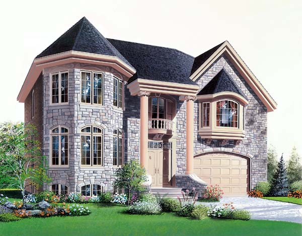 European House Plan 64974 Elevation