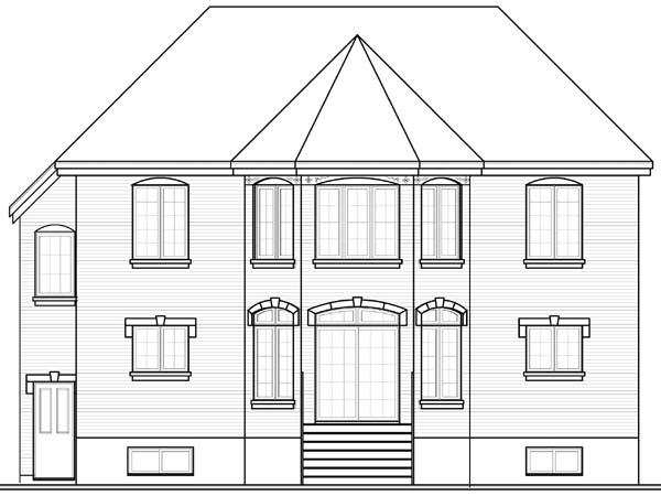 European House Plan 64974 Rear Elevation
