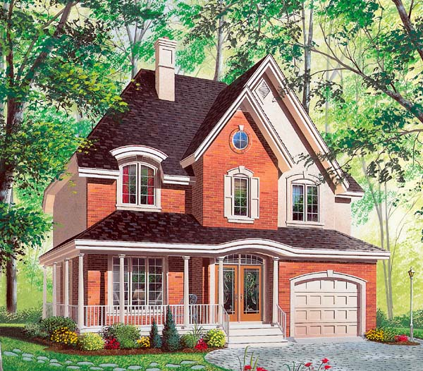 Country, European House Plan 64975 with 4 Beds, 3 Baths, 1 Car Garage Elevation