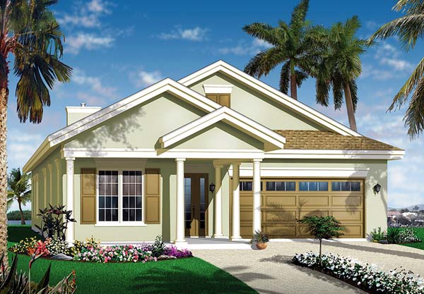 Florida House Plan 64977 with 3 Beds, 2 Baths, 2 Car Garage Elevation