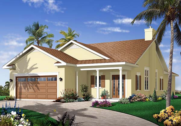 Florida House Plan 64978 with 3 Beds, 2 Baths, 2 Car Garage Elevation