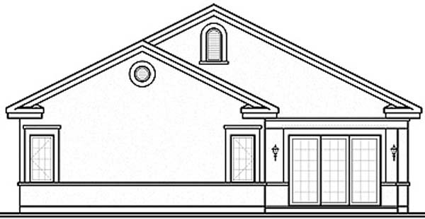 Florida House Plan 64979 with 3 Beds, 3 Baths, 2 Car Garage Rear Elevation