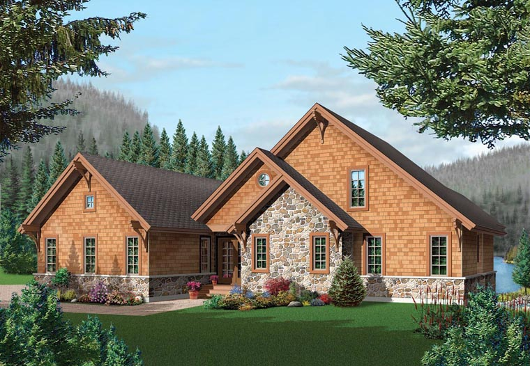 Coastal Country Craftsman Elevation of Plan 64981