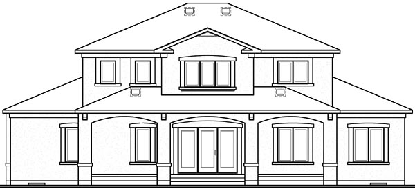 Florida House Plan 64984 Rear Elevation