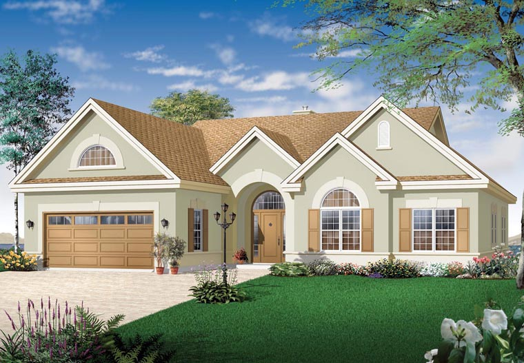 Bungalow European Florida Mediterranean House Plan 64986 Elevation