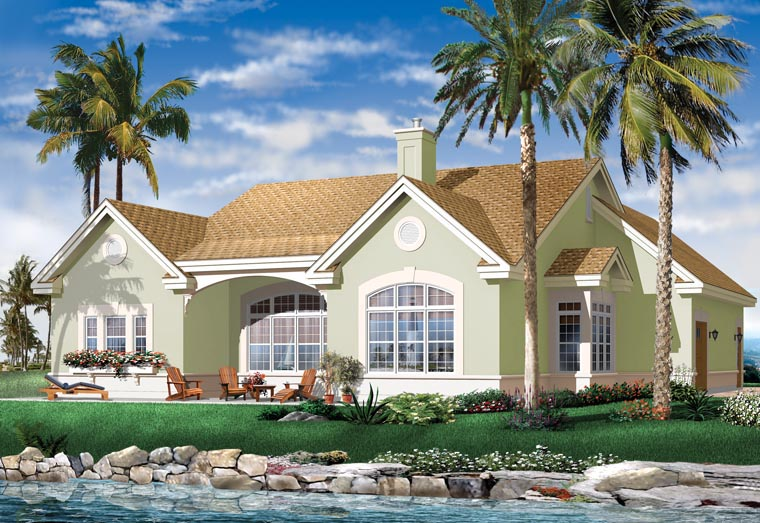Bungalow European Florida Mediterranean House Plan 64986 Rear Elevation