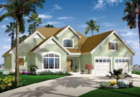 House Plan 64987 | Florida Style Plan with 2849 Sq Ft, 3 Bedrooms, 3 Bathrooms, 2 Car Garage Elevation