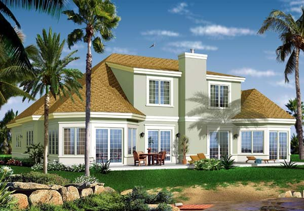 House Plan 64987 | Florida Style Plan with 2849 Sq Ft, 3 Bedrooms, 3 Bathrooms, 2 Car Garage Rear Elevation