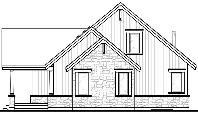 Craftsman House Plan 64988 Rear Elevation