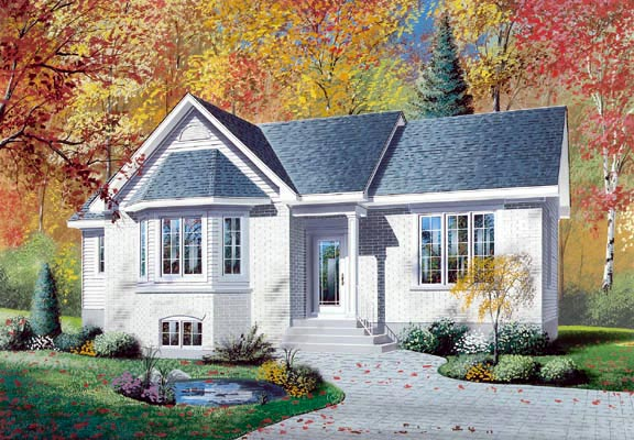 House Plan 64991 | Traditional Style Plan with 1206 Sq Ft, 3 Bedrooms, 1 Bathrooms Elevation