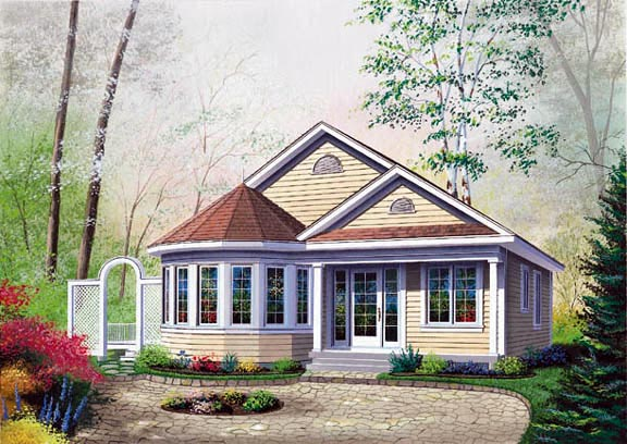 Victorian House Plan 64992 with 2 Beds, 1 Baths Elevation