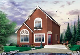 Cabin Saltbox Traditional House Plan 65003 Elevation