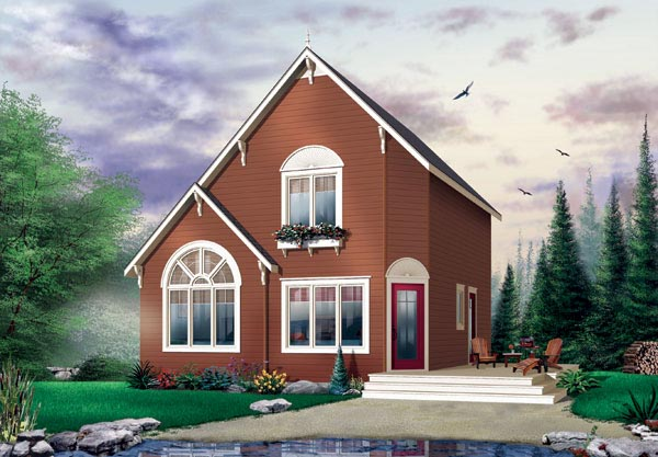 Cabin Saltbox Traditional Elevation of Plan 65003