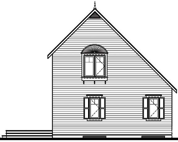 Cabin Saltbox Traditional Rear Elevation of Plan 65003