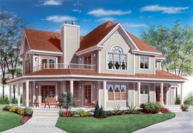 House Plan 65004 | Country Farmhouse Traditional Style Plan with 2350 Sq Ft, 4 Bedrooms, 3 Bathrooms, 2 Car Garage Elevation