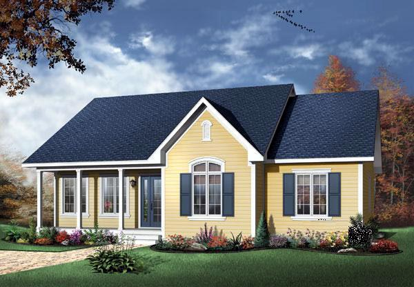 Bungalow Cabin Country Ranch Traditional House Plan 65006 Elevation