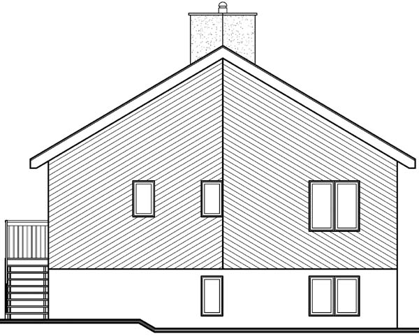 A-Frame Contemporary Craftsman Rear Elevation of Plan 65007